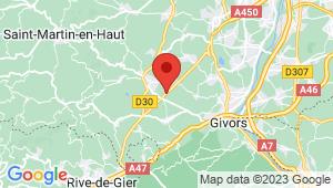 Carte de localisation du centre de contrôle technique MORNANT