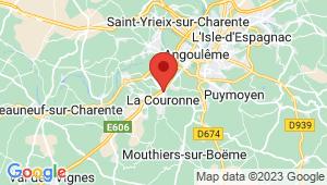 Carte de localisation du centre de contrôle technique LA COURONNE