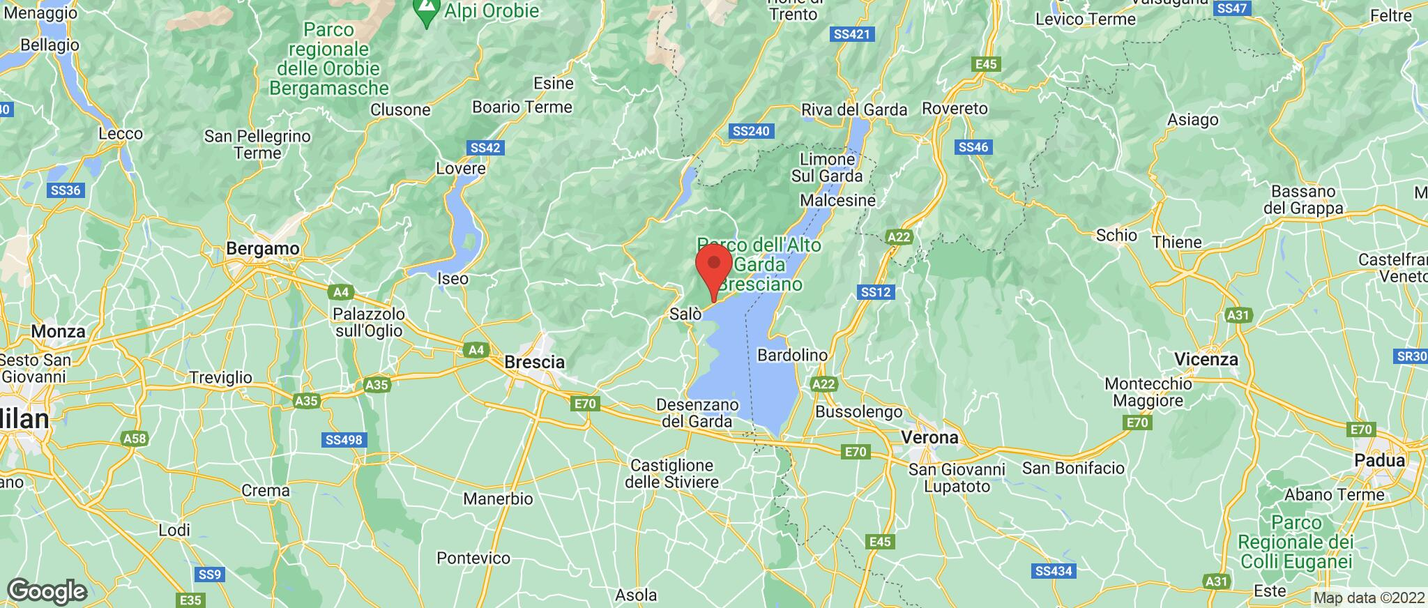 Map showing the location of Gardone Riviera