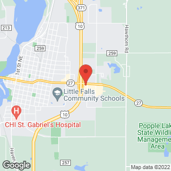 Map of Arby's at 100 Lemieur St, Little Falls, MN 56345