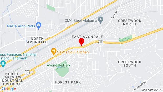 Google Map of 4500 5th Avenue South, Birmingham, AL