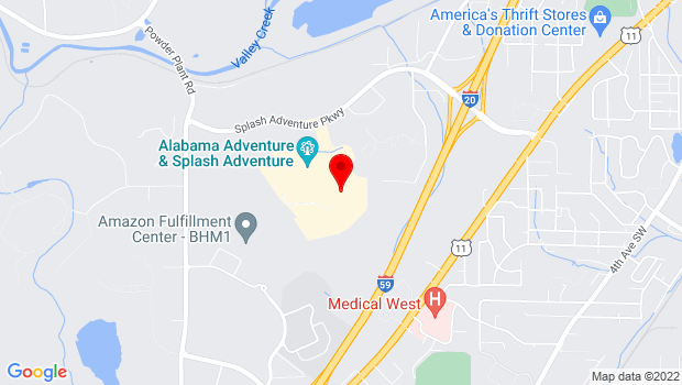 Google Map of 4599 Alabama Adventure Pkwy, Bessemer, AL 35022