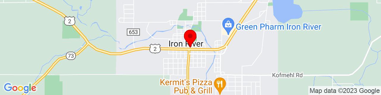 Google Map of 46.09277777777778, -88.64222222222223