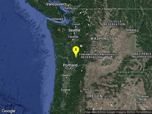 earthquake 36 km NNE of Amboy, Washington
