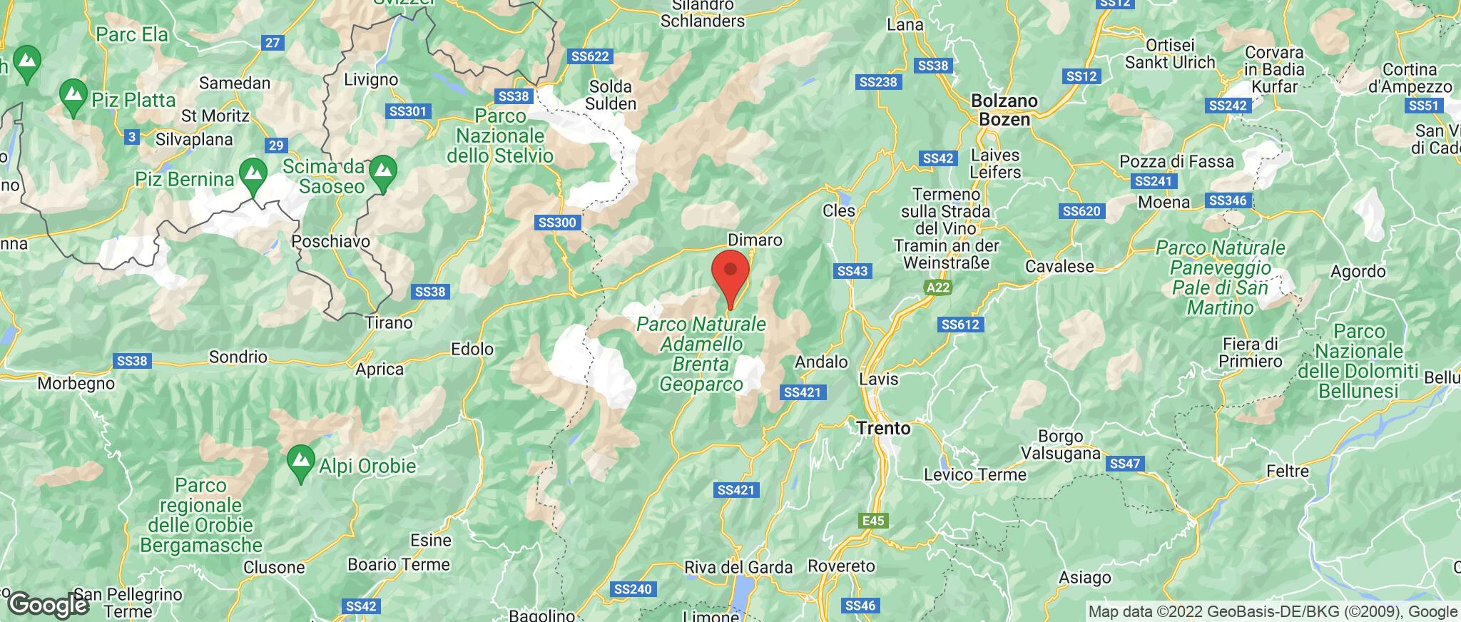Map showing the location of Madonna Di Campiglio