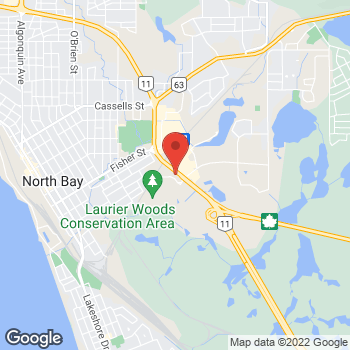 Map of Tim Hortons at 114 Drury St, North Bay, ON P1A 3Z6