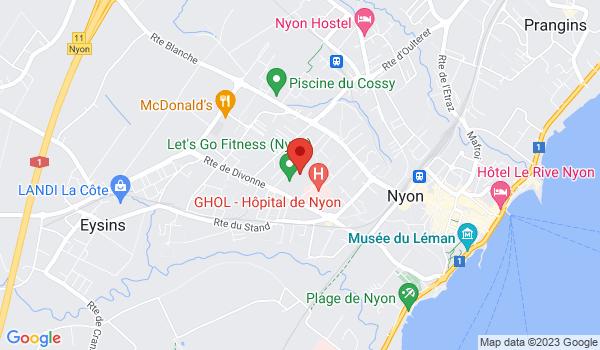Google map positionnant le bien Places de parc int. dans le Quartier des Saules à Nyon