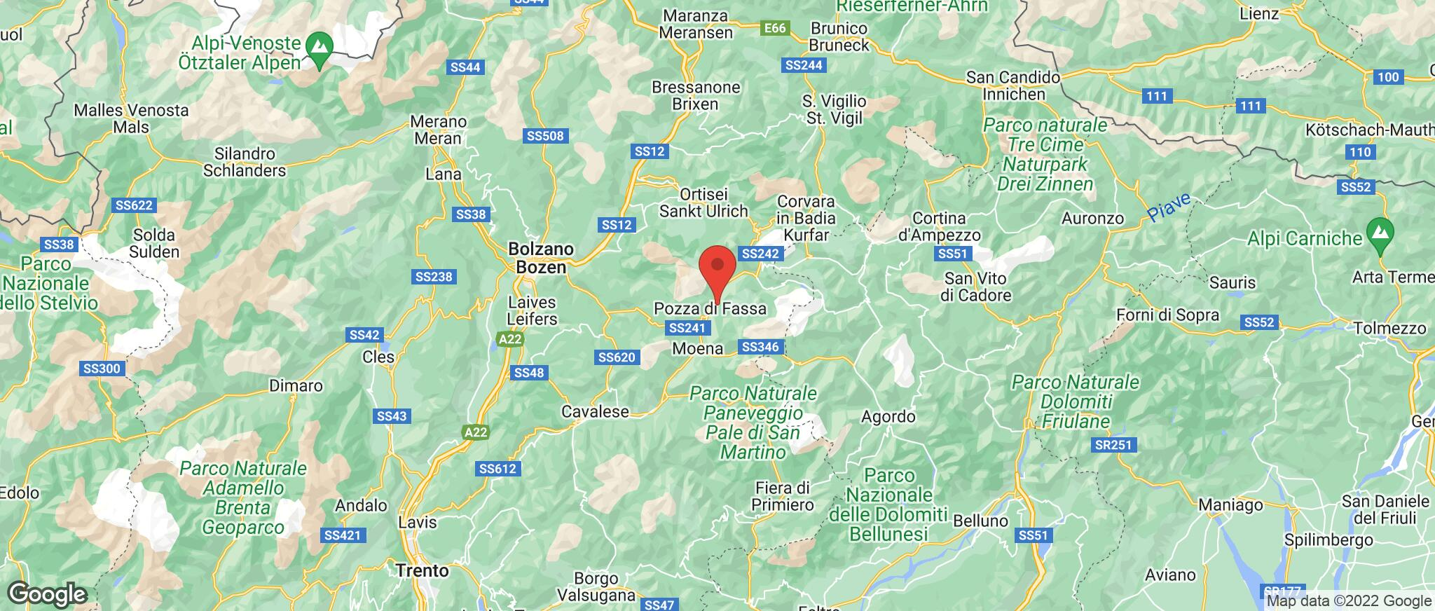 Map showing the location of Val Di Fassa