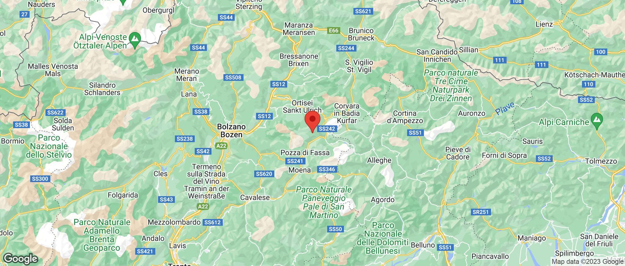Map showing the location of Campitello Di Fassa