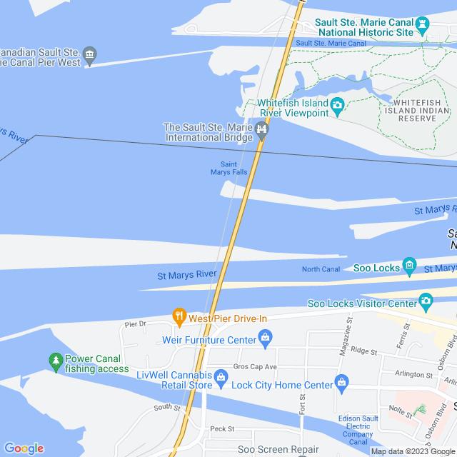 Map of Sault Saint Marie International Bridge
