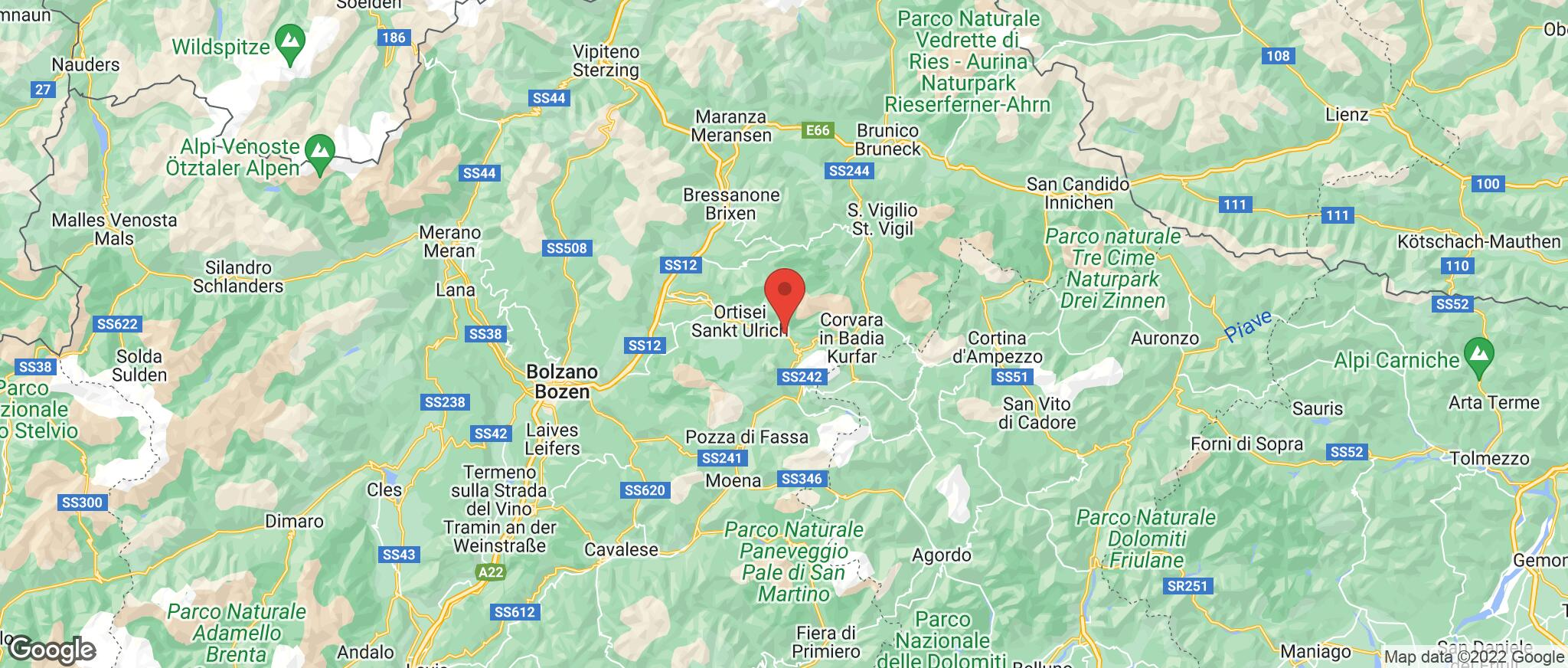 Map showing the location of Selva Val Gardena