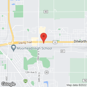 Map of Pizza Ranch at 1504 Center Avenue West, Dilworth, MN 56529