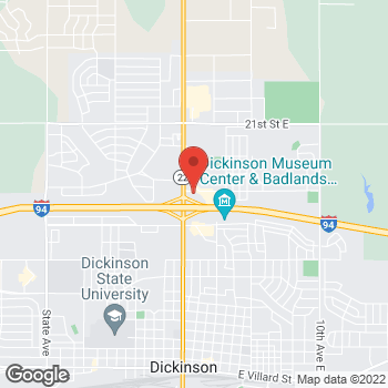 Map of Arby's at 251 14th St W, Dickinson, ND 58601