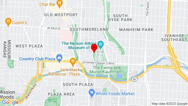 Google Map of 4600 Oak St., Kansas City, MO 64111