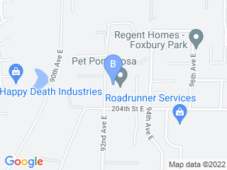Map of Pet Ponderosa Resorts  Spas Dog Boarding options in Graham | Boarding