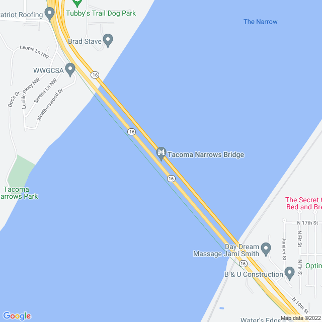 Map of Tacoma Narrows Bridge - Test
