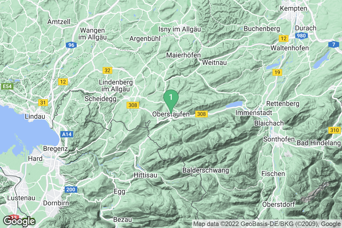 Google Map of Oberstaufen
