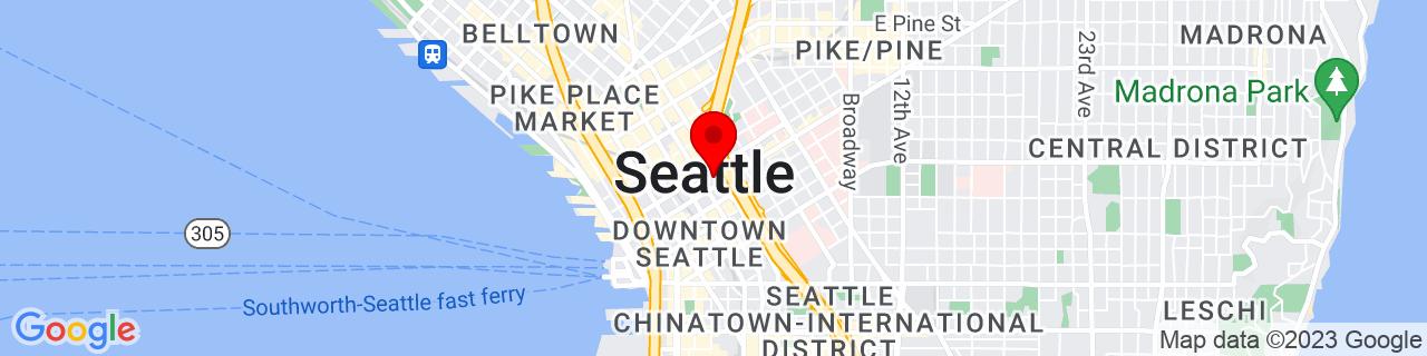 Google Map of 47.6072334, -122.3313614