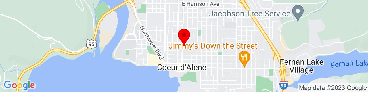 Google Map of 47.67777777777778, -116.78055555555555