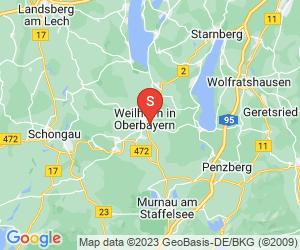 Karte für Disc Golf-Anlage Weilheim in OB