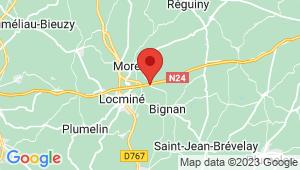 Carte de localisation du centre de contrôle technique MOREAC