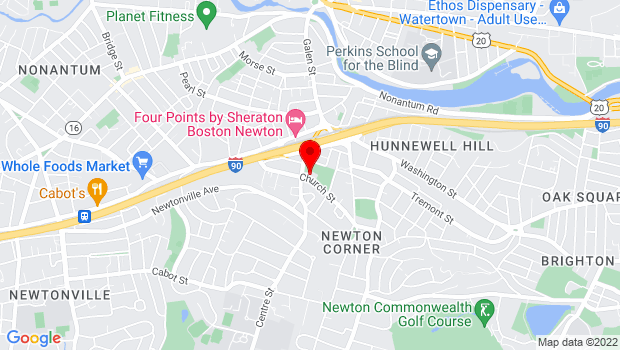 Google Map of 474 Centre St., Newton, MA 02458