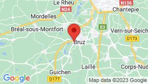 Carte de localisation du centre de contrôle technique BRUZ