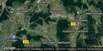 Google Map of Hausen ob Verena