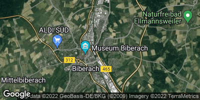 Google Map of Biberach an der Riß