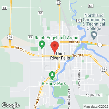 Map of Arby's at 225 3rd St. W., Thief River Falls, MN 56701