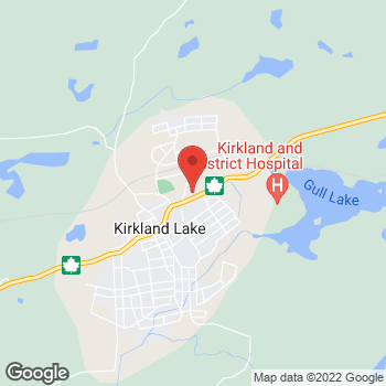 Map of Tim Hortons at 70 Government Rd East, Kirkland Lake, ON P2N 1A5