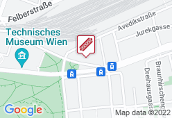 Würstelstand hinter dem TMW - Karte