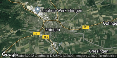 Google Map of Ehingen an der Donau