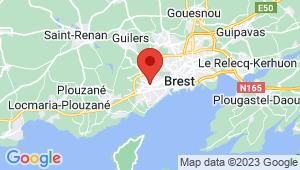 Carte de localisation du centre de contrôle technique BREST