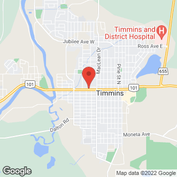 Map of Tim Hortons at 110 Algonquin Blvd West, Timmins, ON P4N 1R4