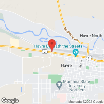 Map of Taco John's at 505 1st St West, Havre, MT 59501
