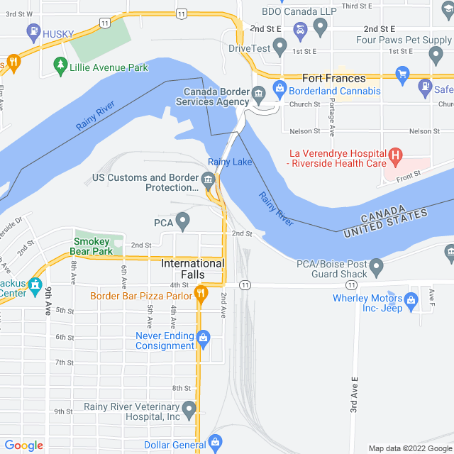 Map of Fort Frances-International Falls International Bridge