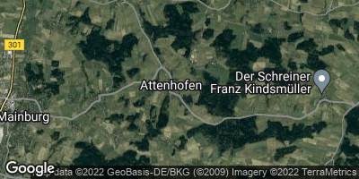 Google Map of Attenhofen in der Hallertau