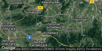 Google Map of Zell unter Aichelberg