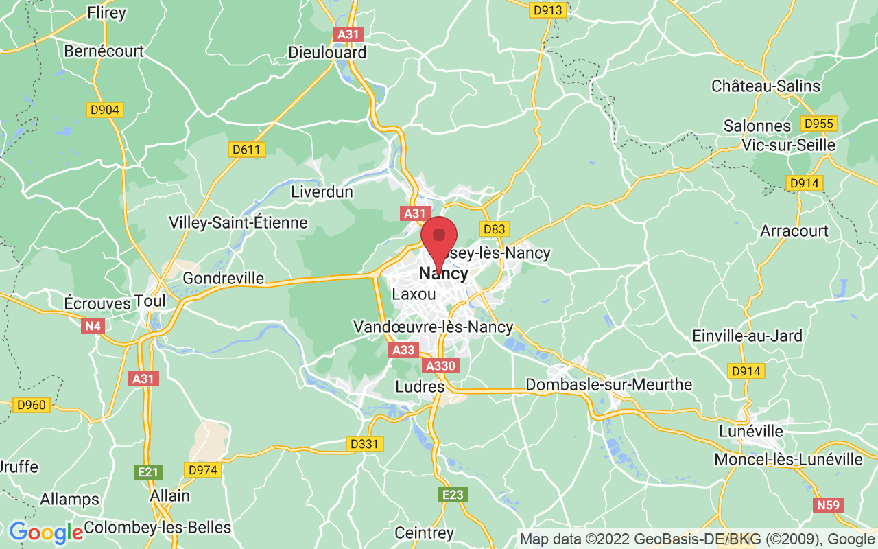 Plan de la ville de Nancy