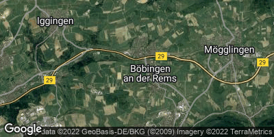 Google Map of Böbingen an der Rems