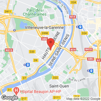 Map of Foot Locker Villeneuve La Garenne at Centre Commercial Villeneuve la Garenne, Qwartz SC - Local B388, 4 Boulevard Gallieni, Villeneuve La Garenne,  92397