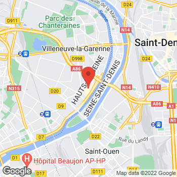 Map of Kids Foot Locker Villeneuve La Garenne at Centre Commercial Villeneuve la Garenne, Qwartz SC - Local B336 , 4 Boulevard Gallieni, Villeneuve La Garenne,  92390