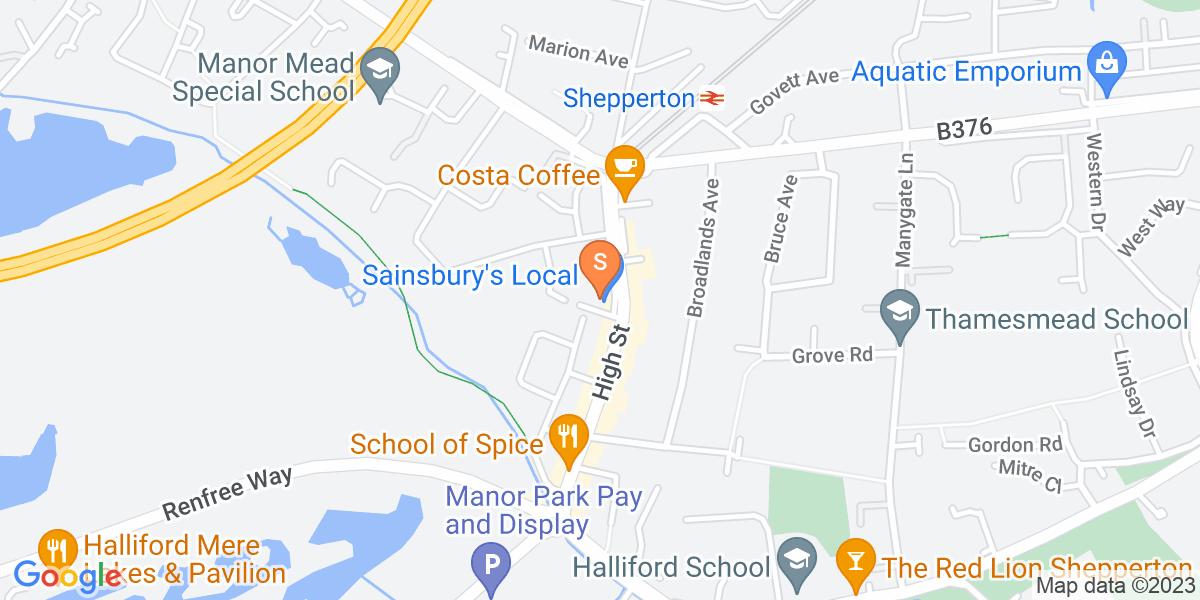 Google Map of 49 High Street Shepperton TW17 9AB