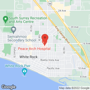 Map of Tim Hortons at 15521 Russell Ave, White Rock, BC V4B 2R4