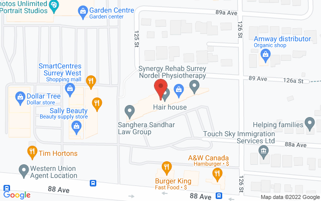 Synergy Rehab Surrey Nordel Static Google Map Wide Version