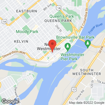 Map of Tim Hortons at 700 Royal Ave, New Westminster, BC V3M 5Z5