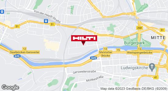 Wegbeschreibung zu Hilti Store Saarbrücken