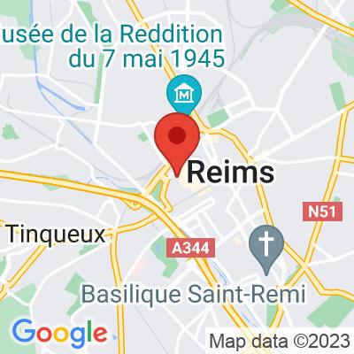 Map showing J'Aime Thé Café