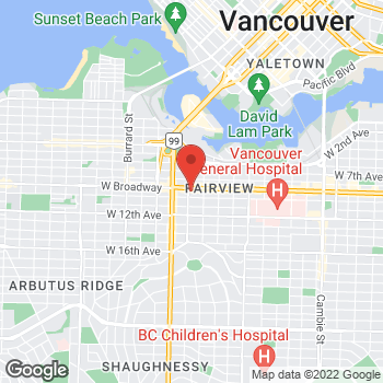 Map of Tim Hortons at 1398 West Broadway, Vancouver, BC V6H 1H2
